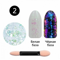 Кристалл Nails, Втирка для ногтей + аппликатор, Юки прозрачная, №02 аметист