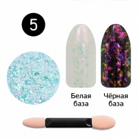 Кристалл Nails, Втирка для ногтей + аппликатор, Юки прозрачная, №05 китайская роза